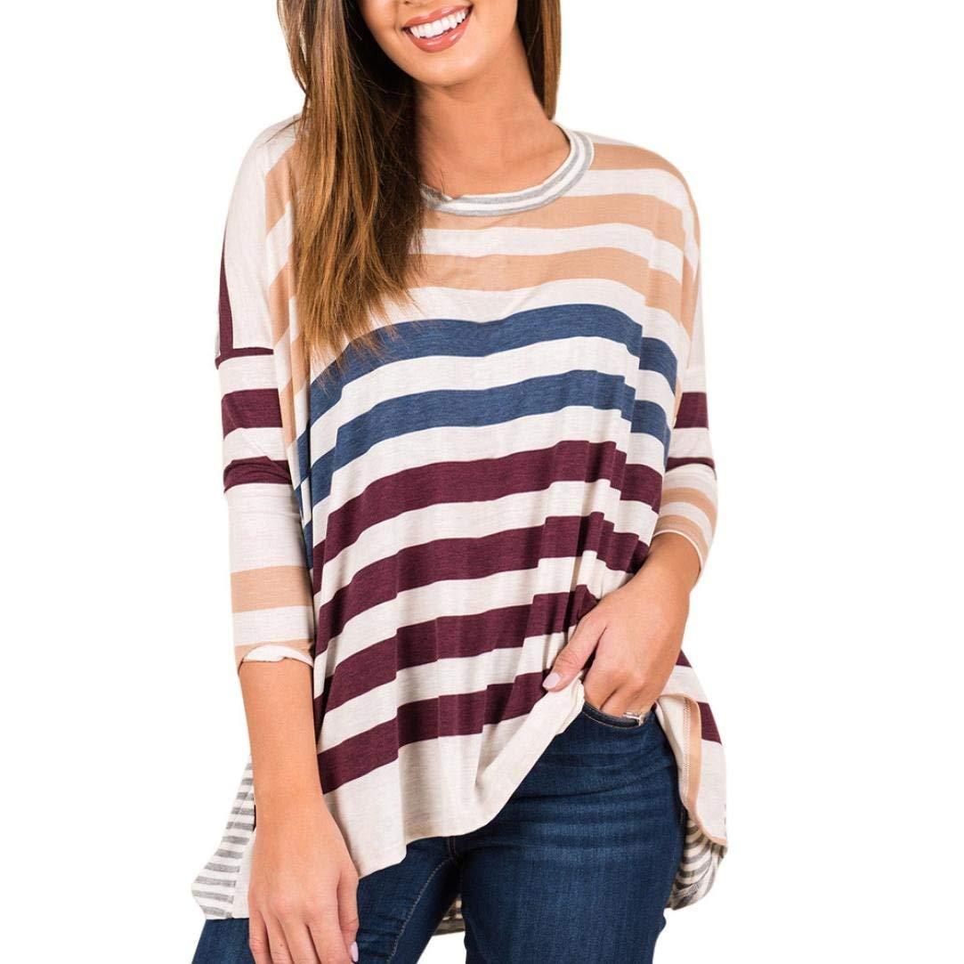 Snowfoller Fashion Women Bat Sleeve Striped Printing Blouse Casual Loose Long Sleeved T shirt O-Neck Patchwork Shirt (L, Purple)