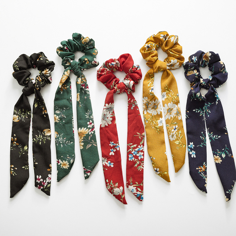 Bow Streamers Hair Ring With Floral Print Girl Hair Bands Scrunchies Horsetail Tie Solid Headwear Hair Accessories