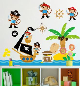 Syene Children Wallpaper Cartoon For Kids Animals Pirate Monkey Wall Stickers Decal Home