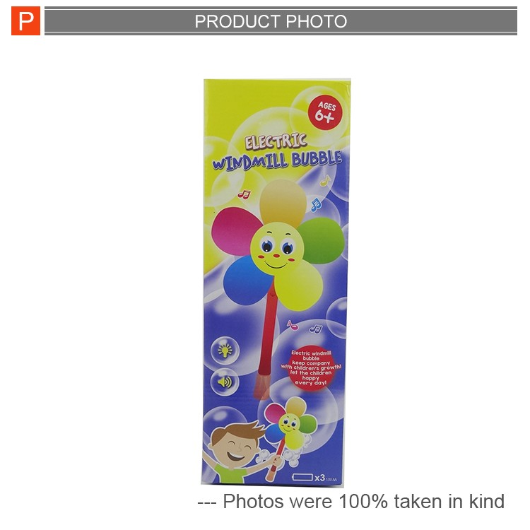 Funny electric sun flower windmill bubble toys for wholesale