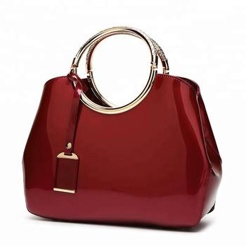 c310d976175f 2018 trend sequin design beautiful ladies handbags red patent leather bridal  wedding tote handbag