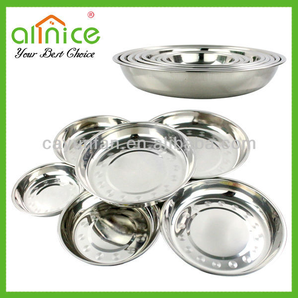 Hot selling in Africa 8 size Kitchen food tray /stainless steel food plate / dinner plate