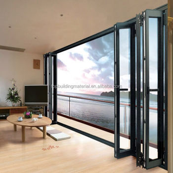 American matt black folding door aluminum