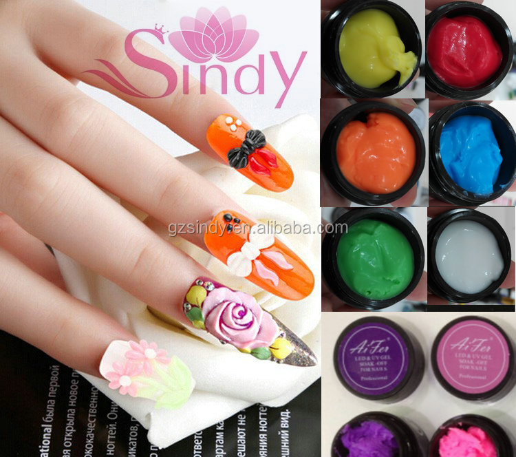 12 Color Emboss Soak Off Gel 3d 4d Miniature Carving Gel For Nail