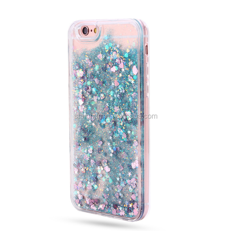 Colorful Moving Stars Liquid Glitter Quicksand 3D Bling Phone Case Cover For Iphone 6 Shining Star Liquid Case