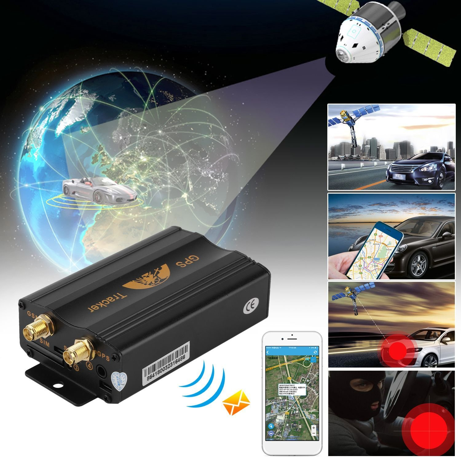 Auto Vehicles Tracking System GPS Tracker Car SMS GPRS Tracking Device 103-A With Aerial Support Both GPS & LBS Auto Tracking System GPS Tracker Car SMS GPRS Tracking Device With Aerial