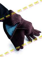 Hand Knitted Wool Elegant Men's Gloves with Flared Cuffs