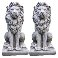Antique outdoor decorative marble lion statue for sale
