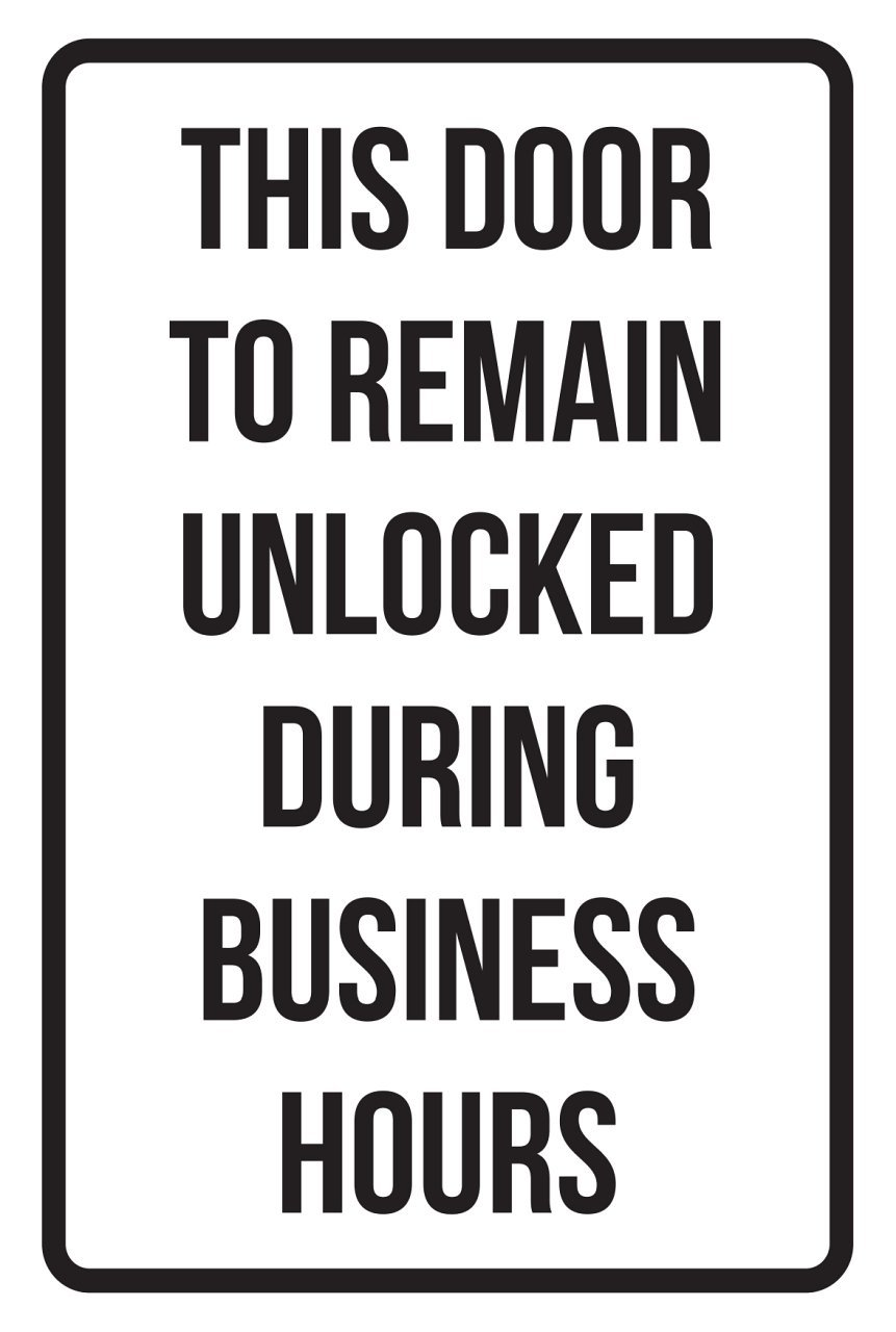 This Door is to Remain Locked During Business Hours Sign Plastic 2 Pack Keep Doors Shut Signs Closed Signage