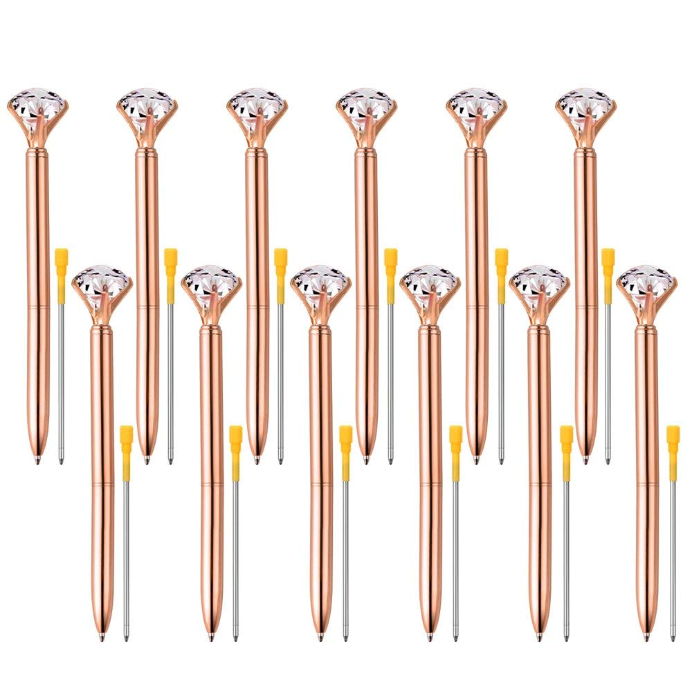 Coopay 12 Pieces Big Crystal Diamond Pens Rose Gold Pens Metal Ballpoint Pens and 12 Pieces Ballpoint Pen Refills in Black Ink for School Office