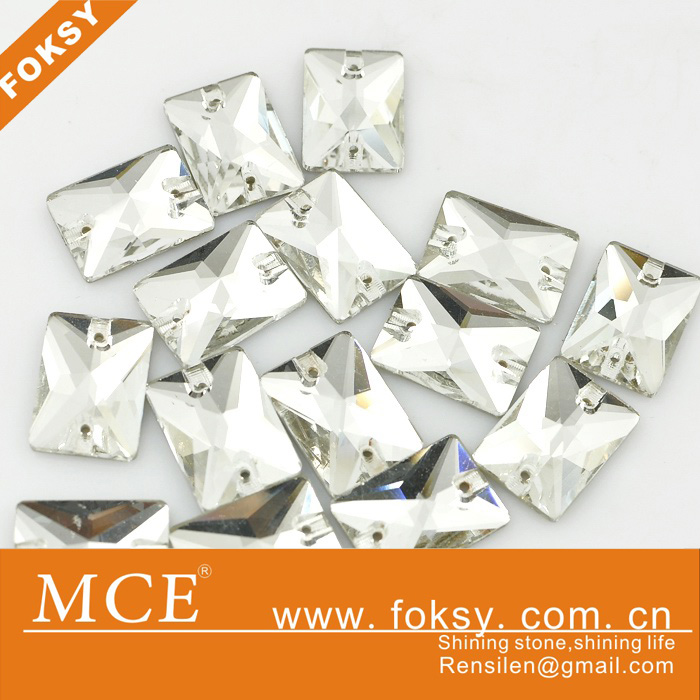 bulk sales sew on rhinestones wholesale, square shape clear rhinestone sew on - FOKSY