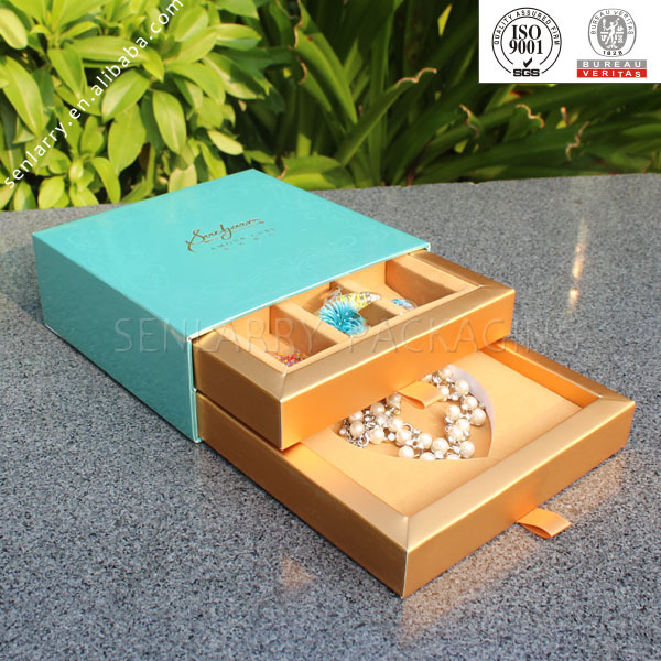 High quality customized drawers jewelry box with 2 drawers wholesale