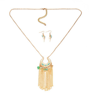 new design gold plated Fashion tassel necklace long jewelry set