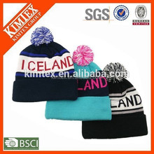 wholesale fashion winter beanie acrylic custom pom pom knit hat