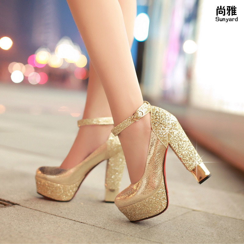 Gold High Heel Bridesmaid Name Champagne Party Wedding: Fashion High Heeled Shoes Thick Heel Platform Champagne