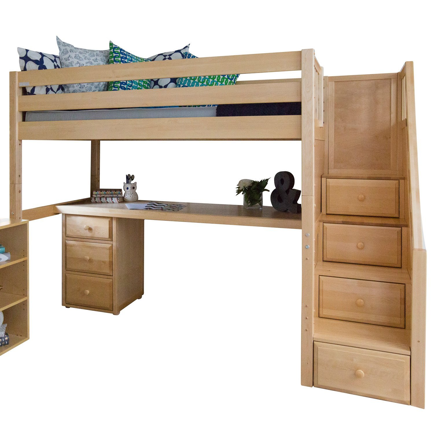 Maxtrix Solid Hardwood Twin-Size Low Loft Bed with Storage Staircase Entry, Integrated Desk, and 3 1/2 Drawer Dresser, Natural