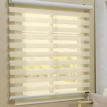 Custom Made 100% Polyester Doorschijnende Roller Zebra Blinds In Wit ...