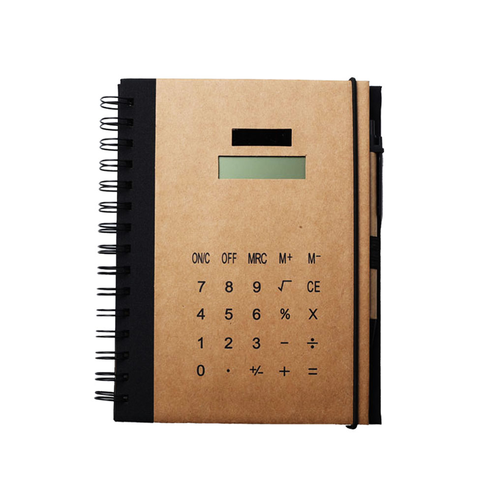 Wholesale Kraft Material Coil Notebook with Calculator and Pen,Solar Power Calculator