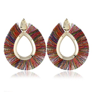 SH1211 Statement Wide Silk Thread Fan Tassel Earrings For Women 2018 Big Round Alloy Drop Dangle Earrings Bohemia