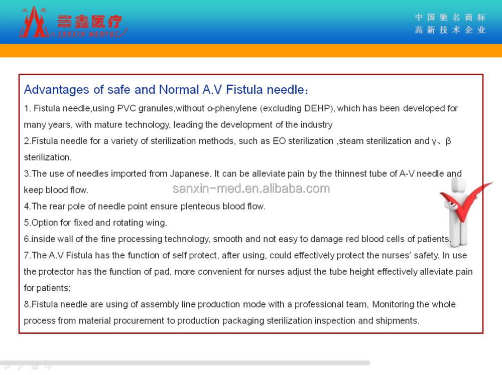 Pvc Free Av Fistula Needles Medical For Dialysis