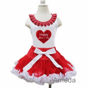 Red White Pettiskirt with Happy Mother's Day Red Heart White Tank Top