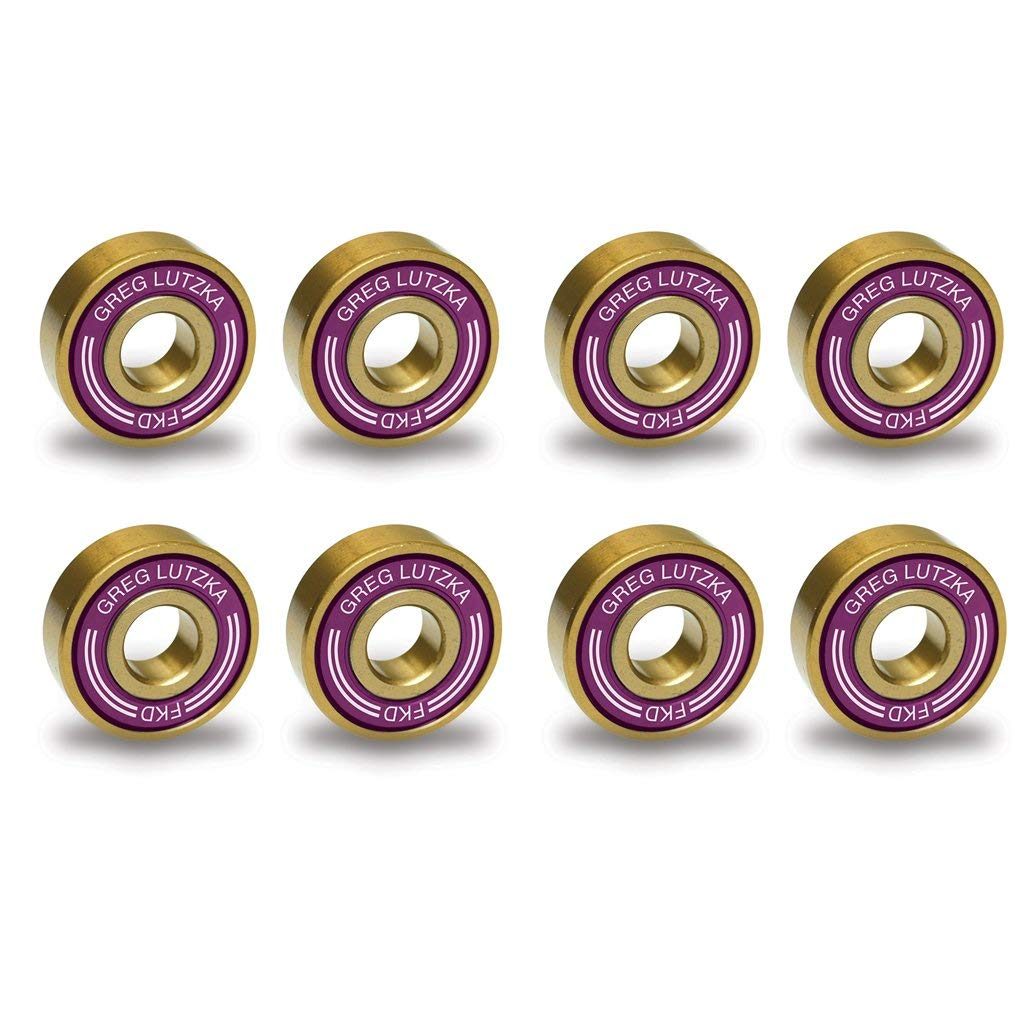 FKD Bearings Greg Lutzka Pro Purple / Gold Skateboard Bearings