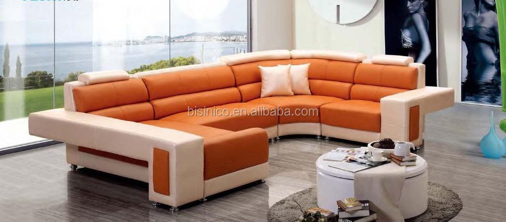 Genuine Leather U Shape Modern Sofa,Orange Sectional Sofa - Buy U ...