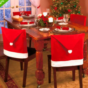 Santa Claus Clause Hat Chair Covers Decorations Dinner Chair Cap Sets For Christmas Xmas Decorations Home Party Holiday Festive
