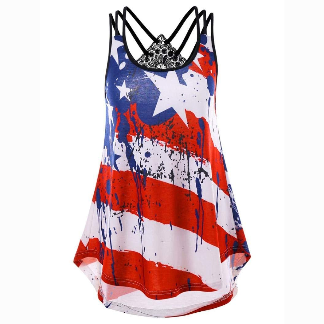 Plus Size Blouse,Han Shi Women Lace Flag Print Striped Vest Strappy Cami Tops Shirt (Red, XL)