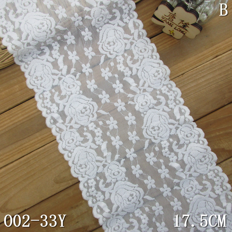 Raschel lace trim 17.5cm rose-flower lace elastane