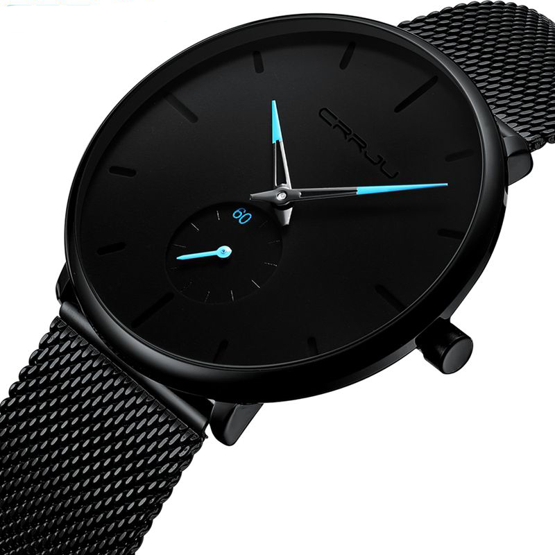 Classic Men Luxury Brand Watches Black Stainless Steel Minimalist Male Analog Clock Waterproof CRRJU 2150 Quartz Men Wrist Watch