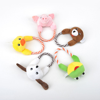 Pet Dog Cat Plush Toys Interactive Pet Puppy Chew Squeak Toy Sound with Rope Duck Frog Bear Pig Dog 5 Styles