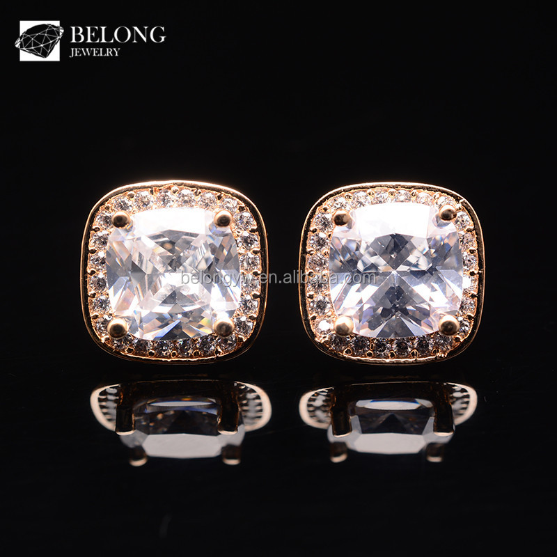 BLJSE0384 saudi gold jewelry pave cz stone square shape luxury gold stud earring
