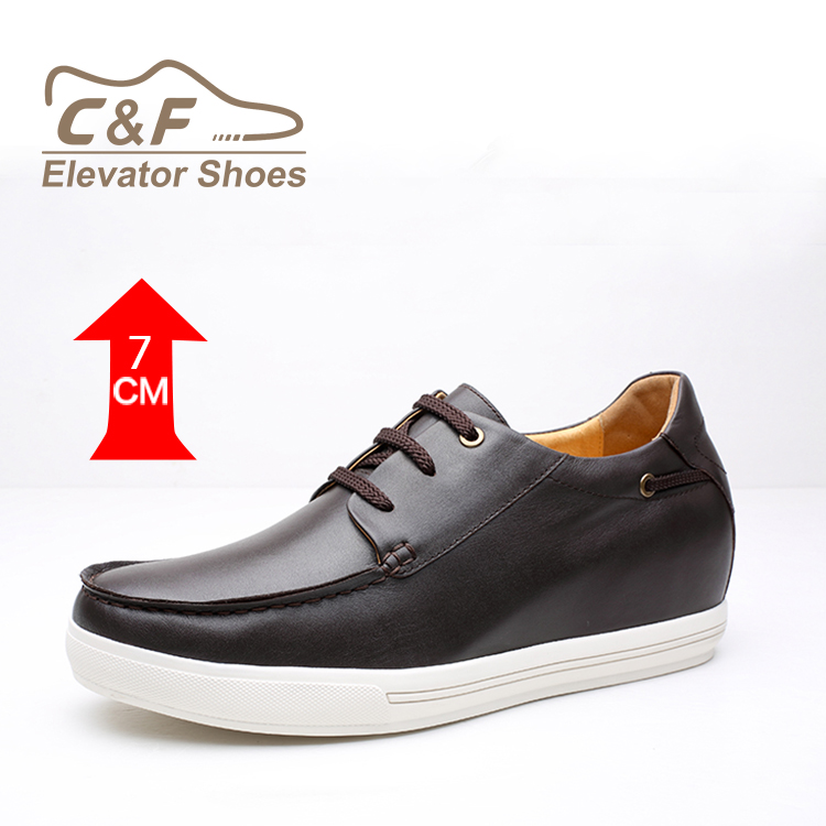 Wholesale Factory Genuine Sneakers Leather Handmade Height Increase China Brown aqC5pdw5