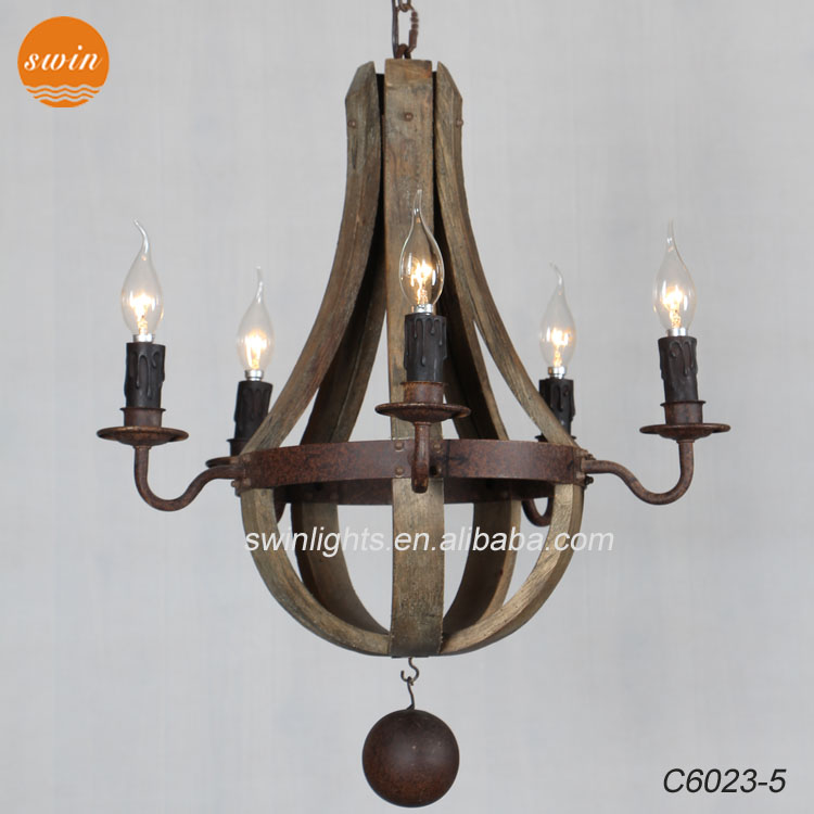 Vintage Rustic Small 5 Light Wine Barrel Wooden Chandelier Rh Wrought Iron Pendant Lamp C6023