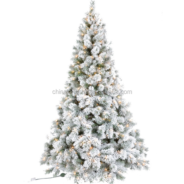 7 Feet Perlit Flocked Pine Artificial White Christmas Tree With Clear  Lights With Real Like Snow