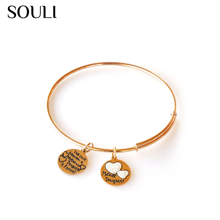 Stainless Steel Jewelry Bracelet Expandable Gold Plated Wire Charm Bangle