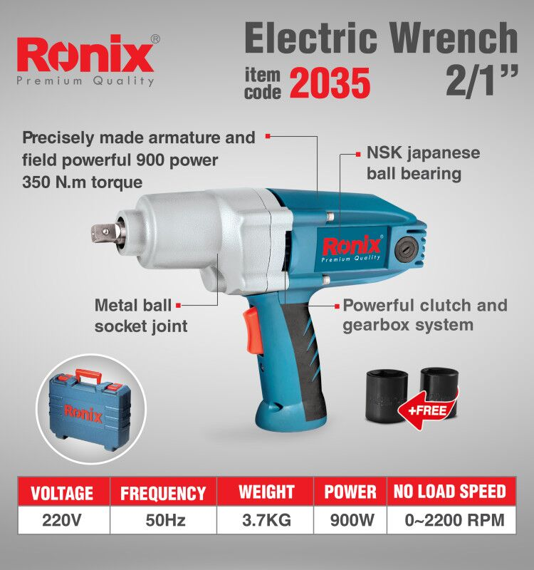 Ronix Weekly Deal  High Quality Air Electric Impact Wrench 900W Model 2035 in stock