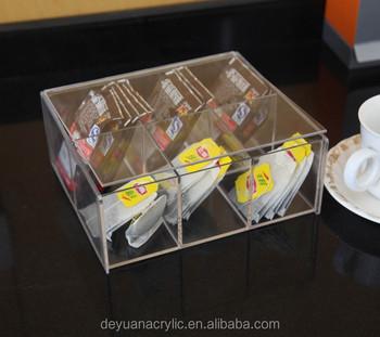 Rectangle Transparency Acrylic Tea Bag Box Perspex Caddy Plexiglass Organizer