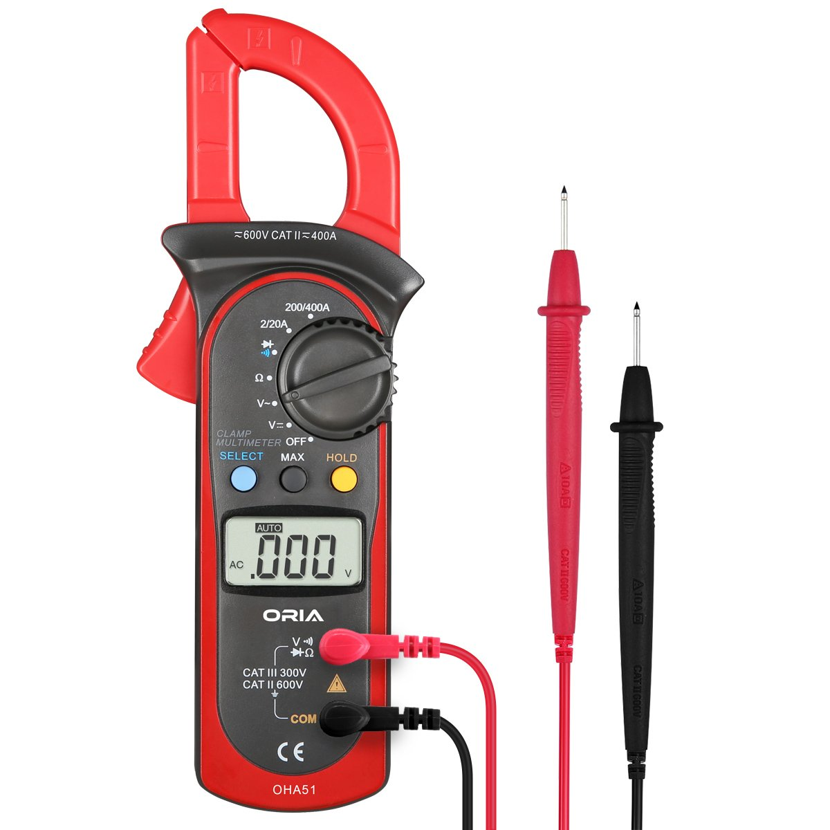 ORIA Digital Clamp Multimeter, Auto Ranging Measures Tester, Handheld Multimeter with Voltage, AC Current, Diodes and Resistance Test, Auto Multi Tester with Test Leads, AAA Battery Included