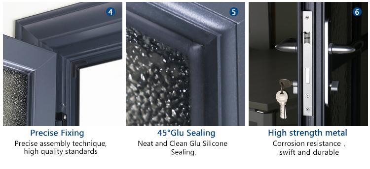 Rogenilan Commercial Interior Doors With Soundproof Glass Aluminum Half  Glass Door Design