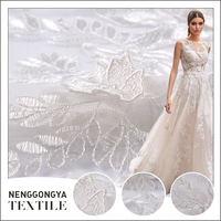 High quality polyester floral white lace fabric embroidery for dress