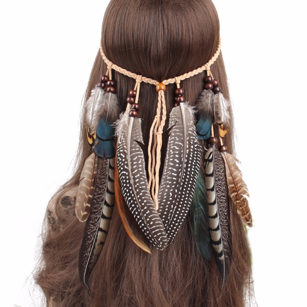 Latest Hairband Designs Leather Rope Brown Feather Headbands Wood Beads Boho <strong>Hair</strong> <strong>Accessories</strong>