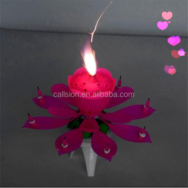 blooming Lotus birthday candle fireworks