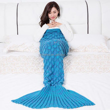 2017 wholesale custom design cheap handmade crochet pattern 100% acrylic Knitted Mermaid Tail Blanket for Adults