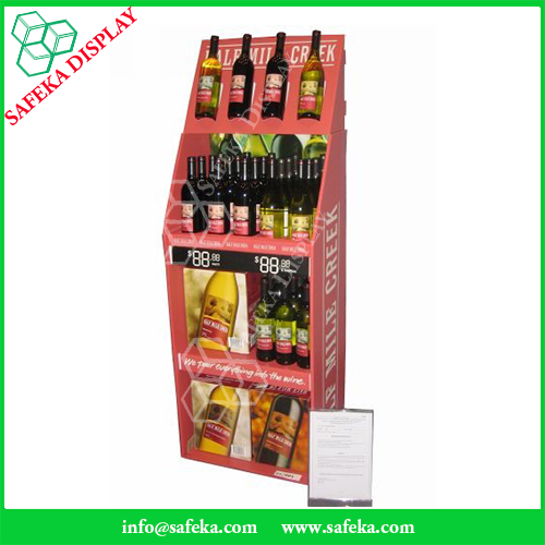 Wine Portable stand corrugated promotional stand rack carton retail display cabinets pop cardboard display