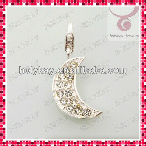 Classic moon shaped jewelry pendant charm,silver plated pave crystal fashion charm
