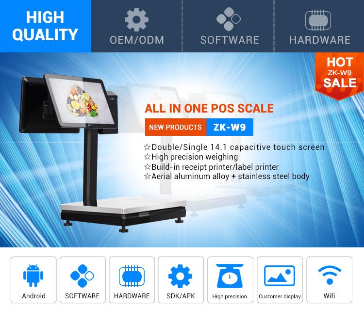 Giá máy tính trọng lượng android điện tử quy mô màn hình kép pos quy mô với phần mềm bán lẻ