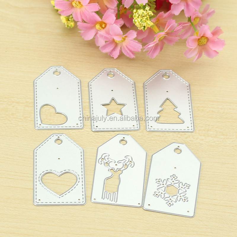 Cute 6pcs Christmas Metal Cutting Dies Tag Stencil Template Embossing for Scrapbooking Paper Card Album Photo Decor