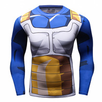 Dragon Ball Z T Shirt for Men Dragon Ball Vegeta Goku Super Saiyan Long Sleeve Fitness Slim Fit 3D T-Shirt Cosplay Costume Tee